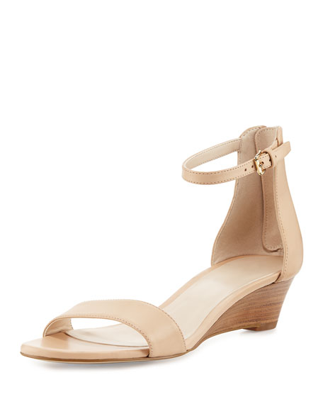 Cole Haan Adderly Grand Leather Low-Wedge Sandal, Neutral