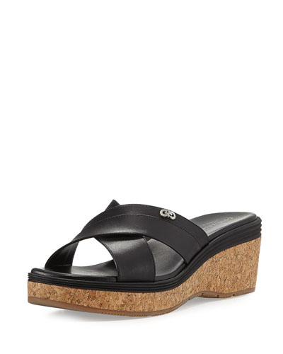 Briella Grand Cork Wedge Sandal, Black