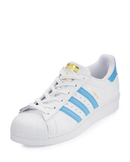 Adidas Superstar Original Fashion Sneaker, White/Blue