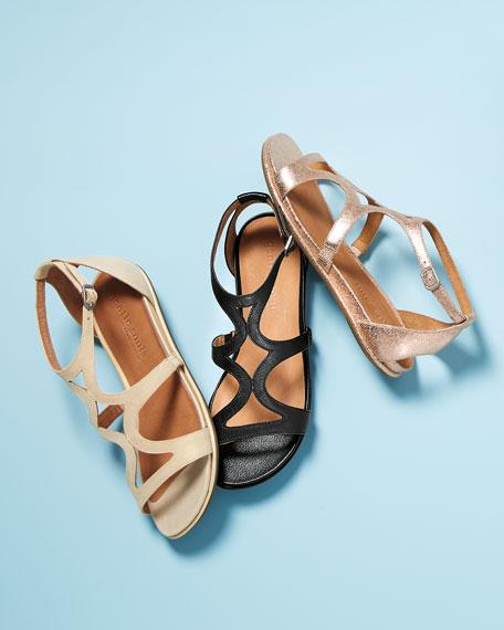 Talia Flatform City Sandals, Gold