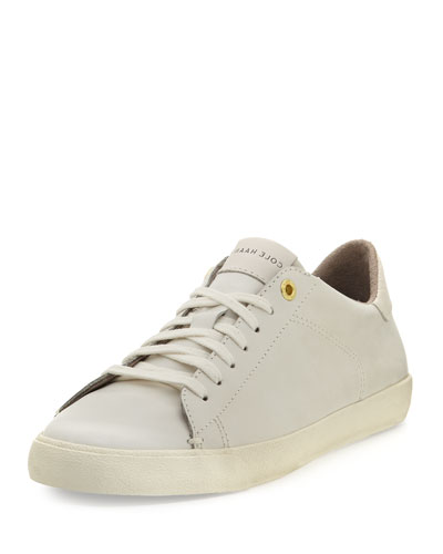Trafton Club Court Leather Low-Top Sneaker, White
