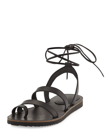 Eileen Fisher Wales Flat Lace-Up Leather Sandal, Black