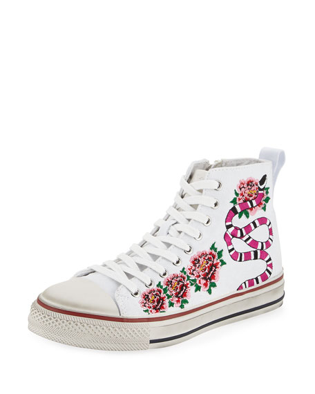 Ash Vanina Embroidered High-Top Sneaker, White