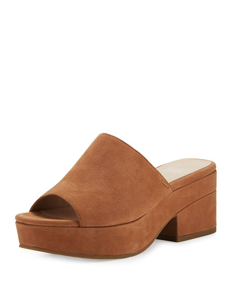 Eileen Fisher Dana Nubuck Platform Mule, Brown