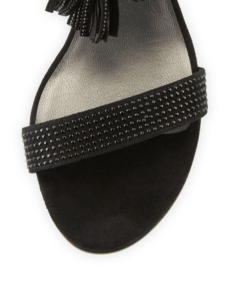Spring Lace-Up City Sandal, Black