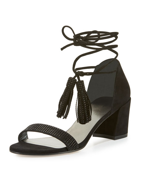 Spring Lace-Up City Sandal, Black