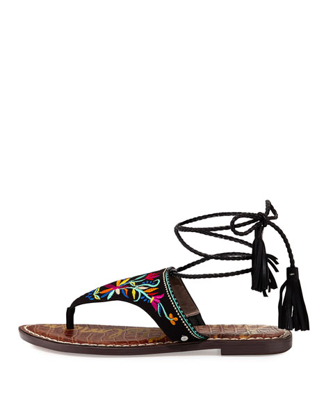 Geri 2 Flat Embroidered Wrap Sandal, Black/Multi