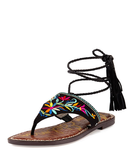 Sam Edelman Geri 2 Flat Embroidered Wrap Sandal,