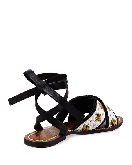 Luisa Flat Beaded Ankle-Wrap Sandal, Black/White