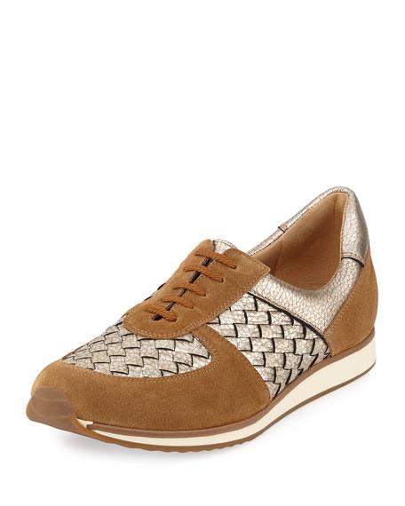 Sesto Meucci Casia Woven Leather Sneaker, Beige