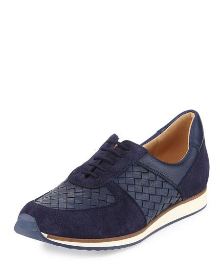 Sesto Meucci Casia Woven Leather Sneaker, Blue