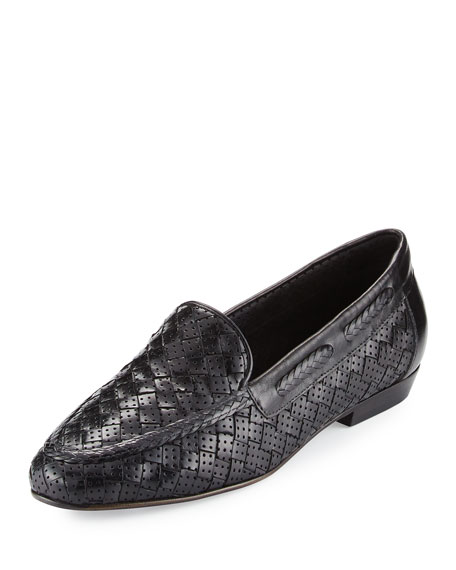 Sesto Meucci Nellie Perforated Woven Flat Loafer, Black