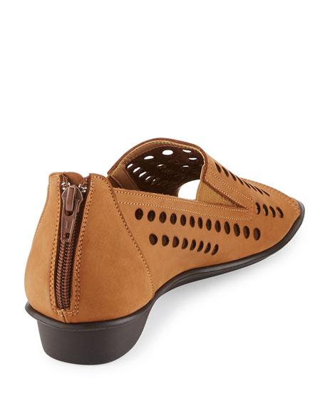Ellen Perforated Comfort Slip-On Flat, Beige