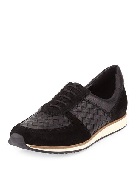 Sesto Meucci Casia Woven Leather Sneaker, Black