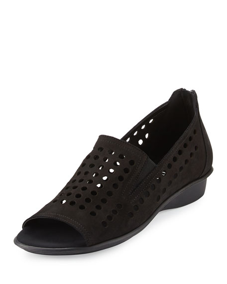 Sesto Meucci Ellen Perforated Comfort Slip-On Flat, Black