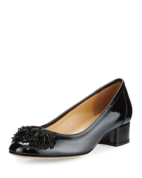 Sesto Meucci Flynn Ornament Patent Low-Heel Pump, Black