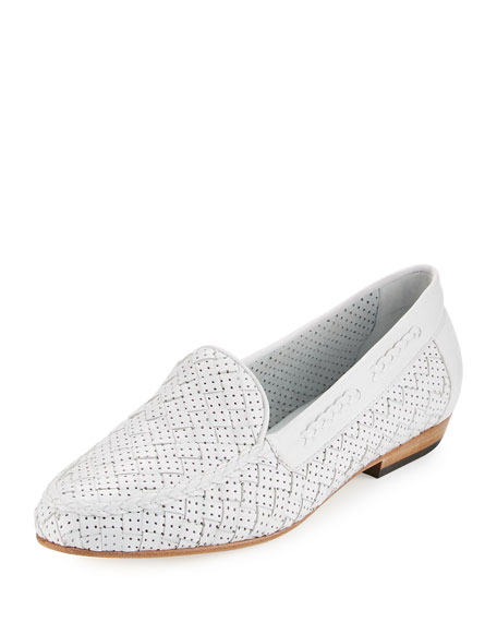 Sesto Meucci Nellie Perforated Woven Flat Loafer, White