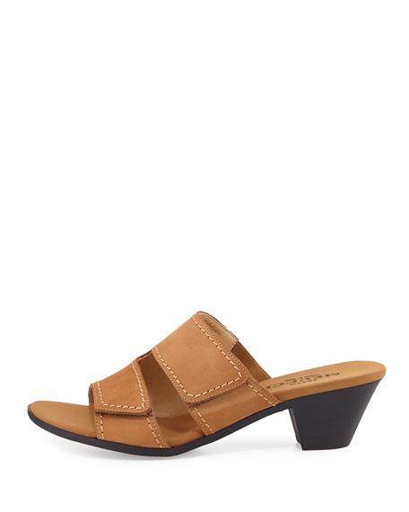 Paidyn Leather Low Slide Sandal, Beige