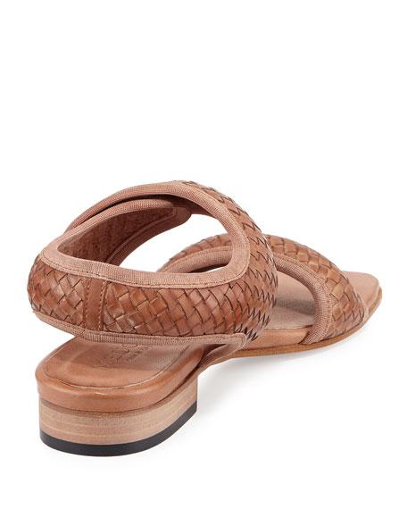 Gryta Woven Leather Flat Sandal, Beige
