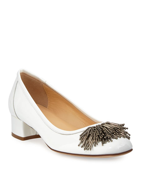 Sesto Meucci Flynn Ornament Patent Low Pump, White
