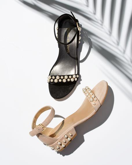Allpearls Suede Block-Heel Sandal