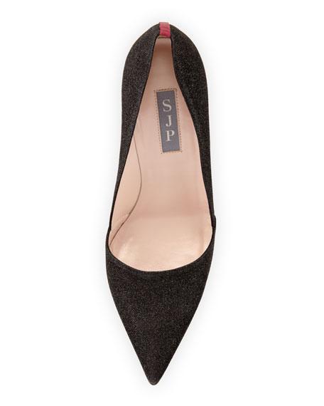Rampling Glitter Pointed-Toe Pump, Black