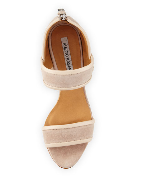 Geo Strappy Suede 85mm Sandal, Ivory