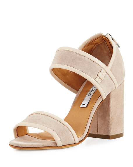 Alberto Fermani Geo Strappy Suede 85mm Sandal, Ivory
