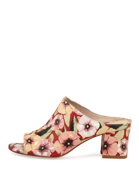 Ellis Basic Floral Lizard Mule, Orange/Red