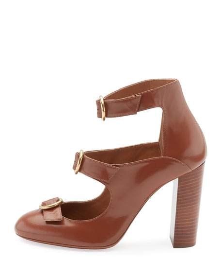 Buckle-Front Leather Pumps, Ochre Delight