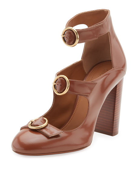 Chloe Buckle-Front Leather Pump, Ochre Delight