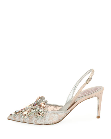 Crystal-Beaded Lace/Snake Halter Pump