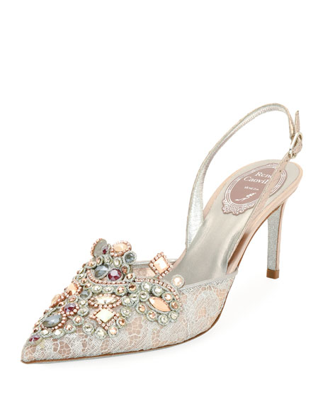 Rene Caovilla Crystal-Beaded Lace/Snake Halter Pump, Pink
