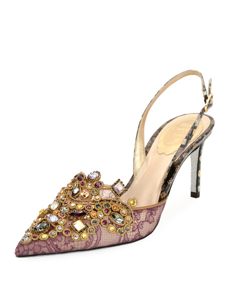 Strass Embellished Snakeskin Pump, Purple