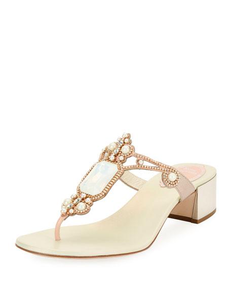 Opal-Set Embellished Thong Slide Sandal, White