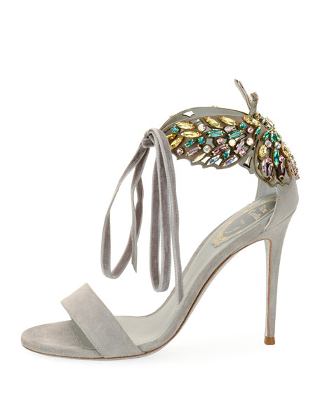 Butterfly Suede Strass Tie Sandals, Gray