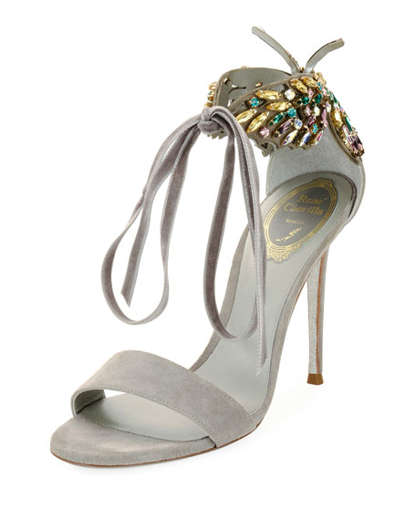 Butterfly Suede Strass Tie Sandal, Gray