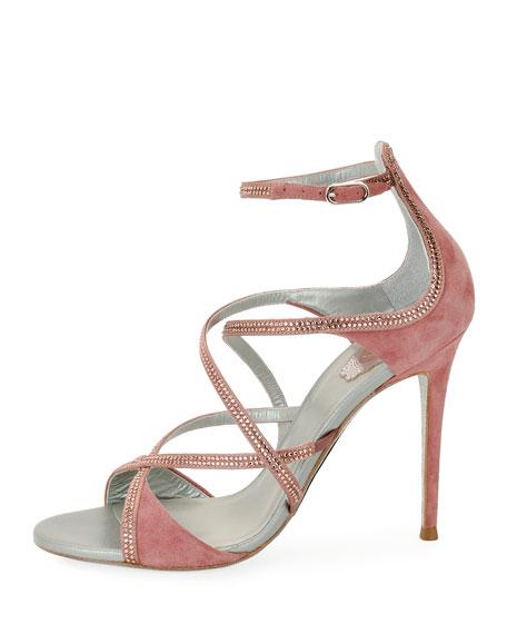 Crisscross Crystal Suede Sandal, Rose