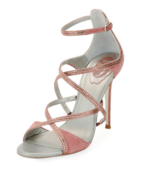 Crisscross Crystal Suede Sandals, Rose