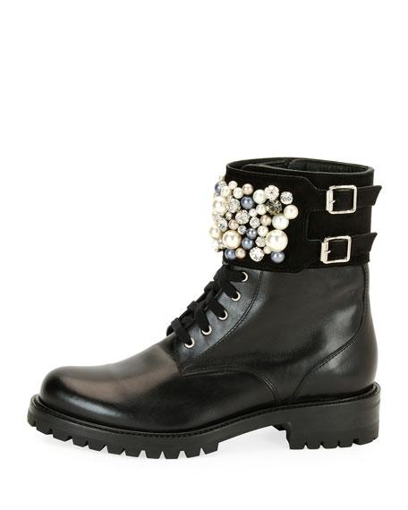 Pearlescent Embellished Combat Boot, Black