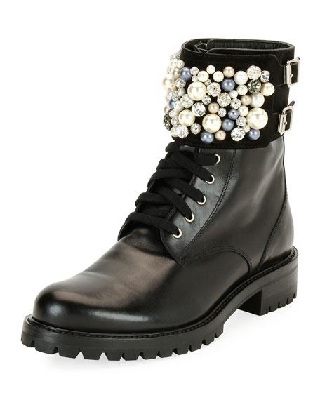 Rene Caovilla Pearlescent Embellished Combat Boot, Black