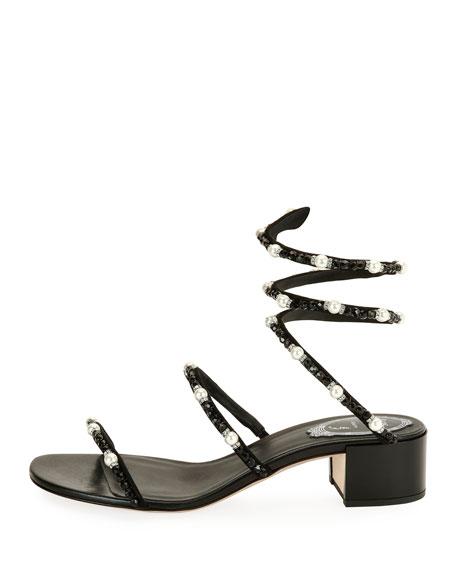 Snake Coil Embellished Sandal, Black