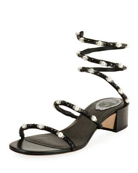 Rene Caovilla Snake Coil Embellished Sandal, Black