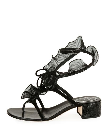 Ruffle Beaded Thong Sandal, Black/Multi