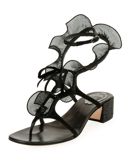 Ruffle Beaded Thong Sandals, Black/Multi