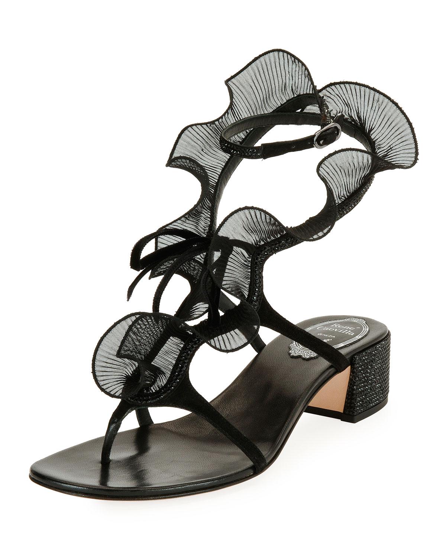 f08a12a0ee80 Rene Caovilla Ruffle Beaded Thong Sandals
