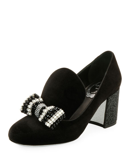 Rene Caovilla Velvet Embellished Bow Loafer Pump, Black/Multi