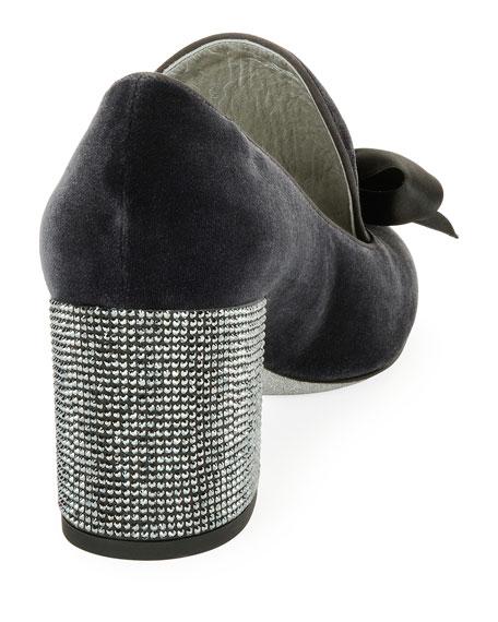 Velvet Embellished Loafer Pump, Dark Gray