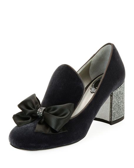 Rene Caovilla Velvet Embellished Loafer Pump, Dark Gray