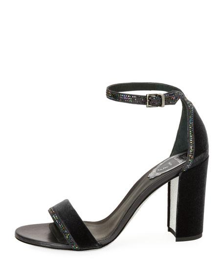Crystal-Trim Velvet Chunky-Heel Sandal, Gray
